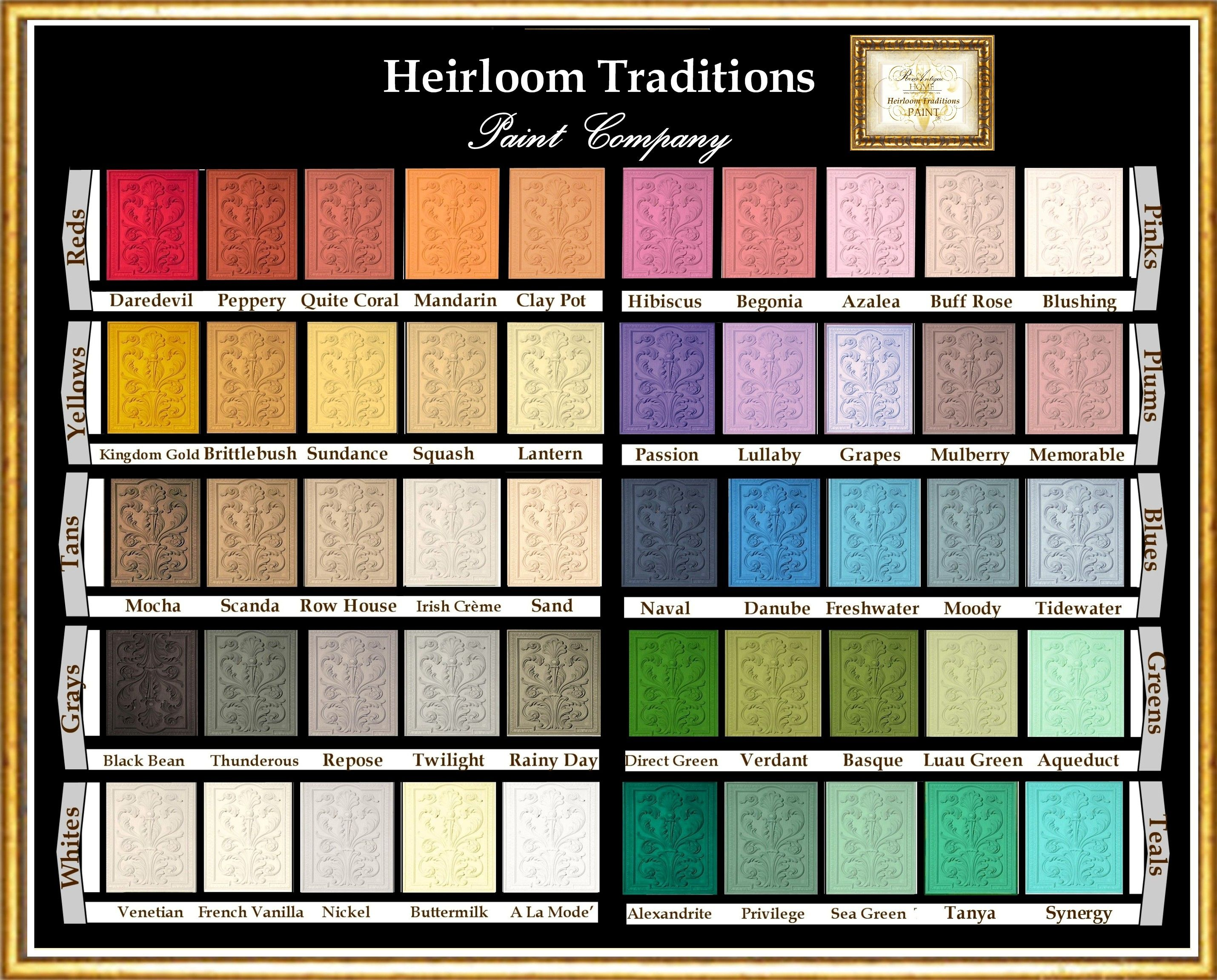 Color Chart For Heirloom Traditions Chalk Paint You Can Buy Any Of These Colors Heirloom Traditions Paint Heirloom Traditions Chalk Paint Heirloom Traditions