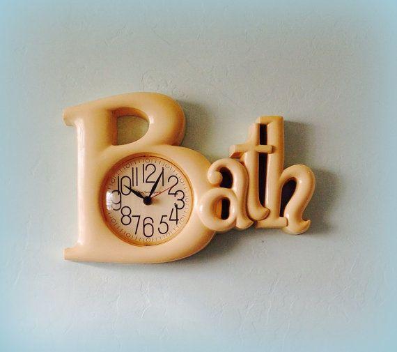 Vintage Bathroom Clock Cream Bath Decor New Haven Quartz