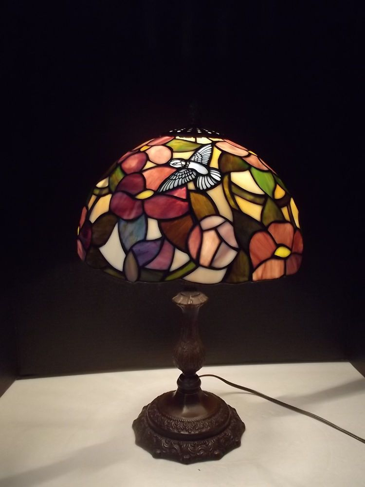 Tiffany Style Stained Glass With Blue Hummingbird Design Electric Table Lamp