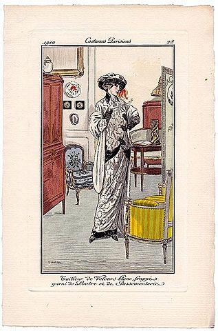 Fernand SIMEON 1912 Journal des Dames et des Modes Costumes Parisiens Pochoir N°28, Decorative Arts