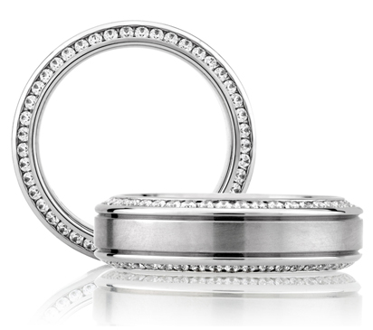 Really unique men's wedding band the diamonds are channel set on the inside and outside of the bands profile!! A. JAFFE!!!!