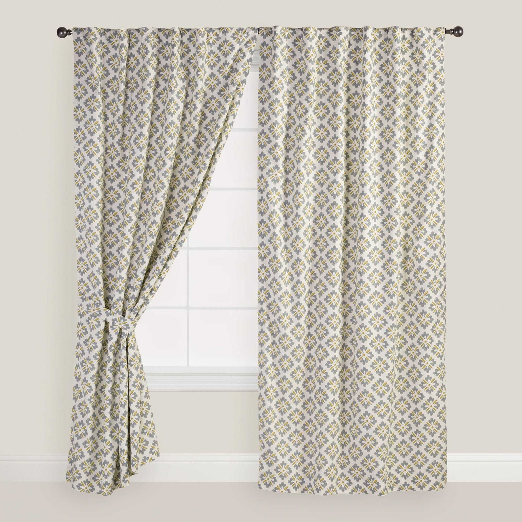 Blue and Green Shadow Flower Curtains, Set of 2 | World Market
