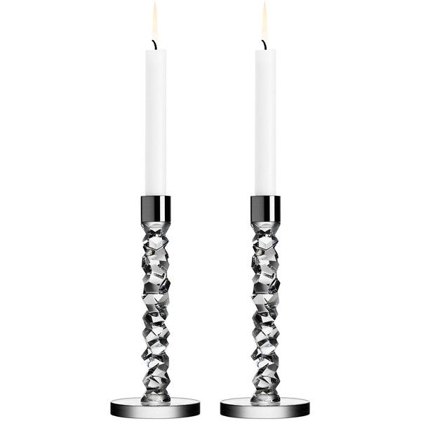 Orrefors Two Carat Candlesticks ($215) ❤ liked on Polyvore featuring home, home decor, candles & candleholders, clear, lead crystal candlesticks, orrefors candlesticks, handmade home decor and orrefors