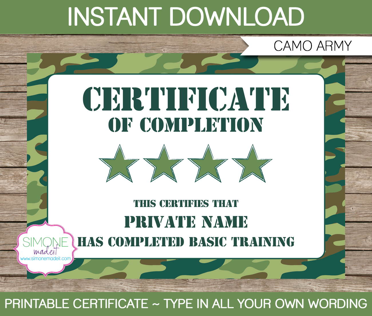 Army party printables invitations decorations camo for Army certificate of completion template