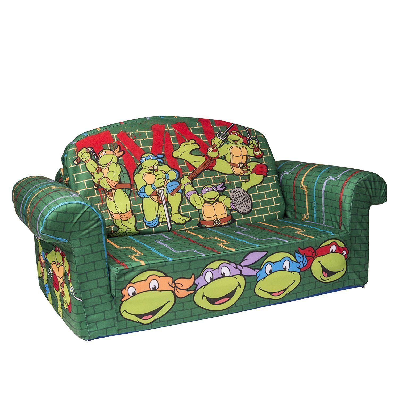 Kids Toddlers Flip Open Sofa Sleeper Bed Bedroom Playroom Furniture Ninja Turtle Bedroom Toddler Sofa Tmnt Room