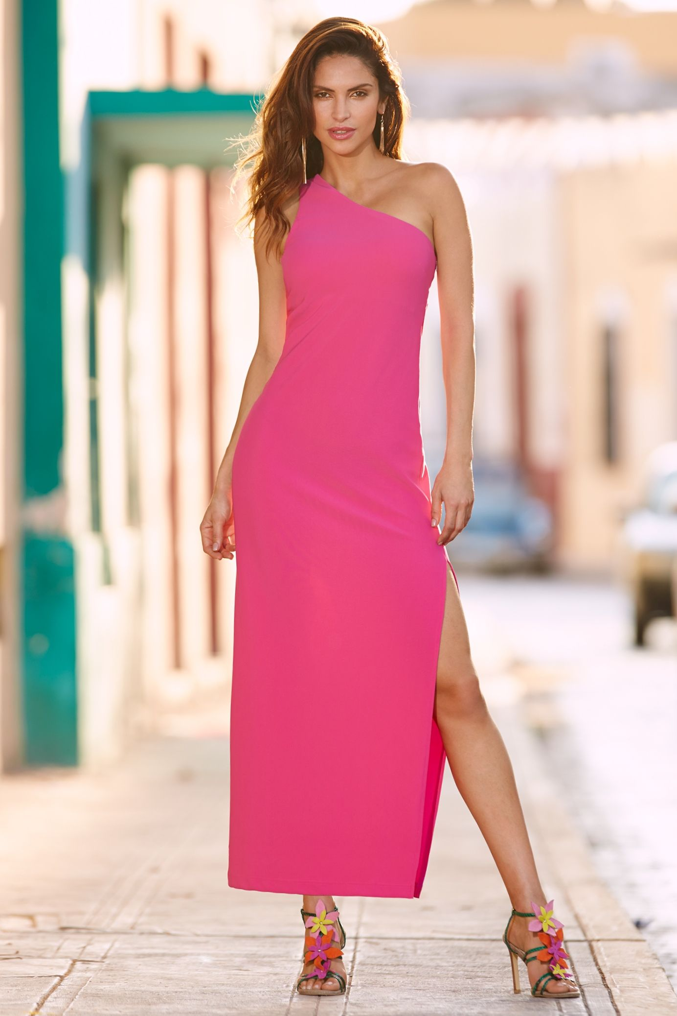Women's Bright Pink Travel One Shoulder Maxi Dress by ...