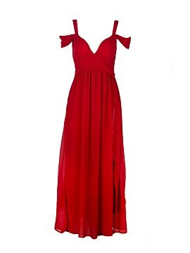 Shop Cold Shoulder Split Maxi Prom Dress in Red from choies.com .Free shipping Worldwide.$34.99