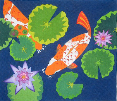 """What's more relaxing and #beautiful than a koi pond? #Stitching one!   Koi Pond by Zecca on 18ct 16""""x14"""""""