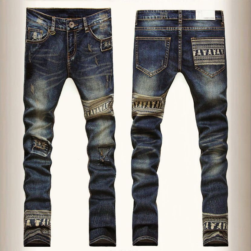 Fashion Brand Skull Skinny Jeans Men Straight Leg denim Trousers mens Ripped  Biker Jeans Motorcycle Slim