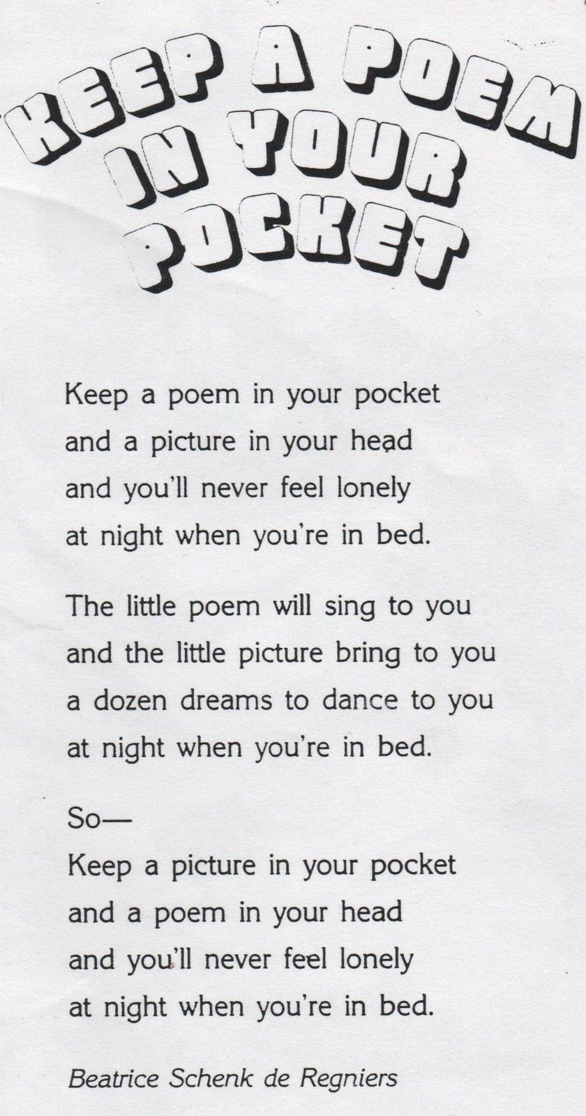photo about Keep a Poem in Your Pocket Printable called Fundamental Higher education ENRICHMENT Actions: Continue to keep A POEM Within YOUR
