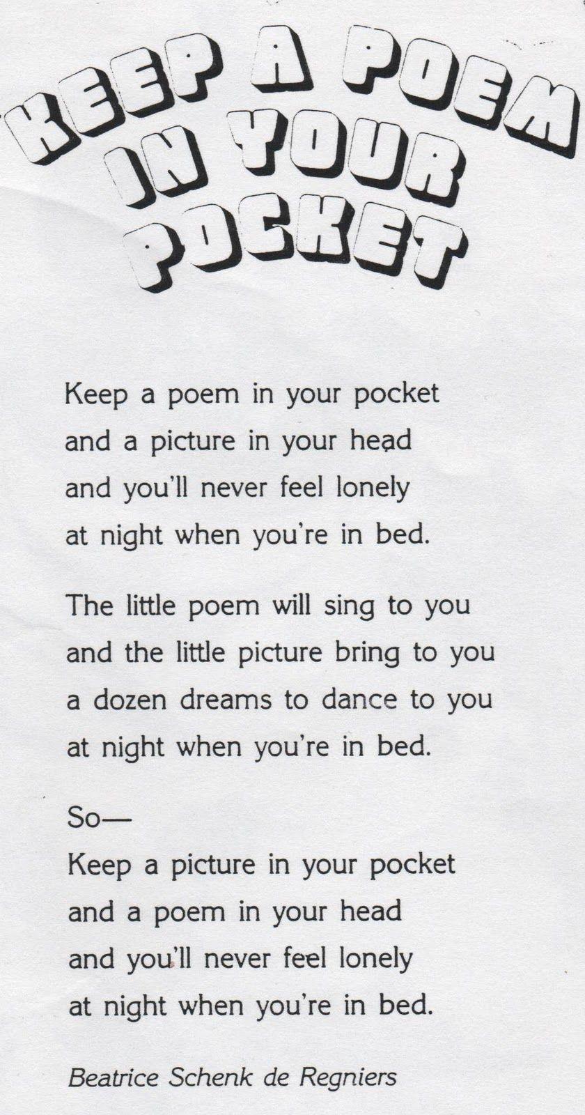 elementary school enrichment activities keep a poem in your pocket school stuff kids poems. Black Bedroom Furniture Sets. Home Design Ideas