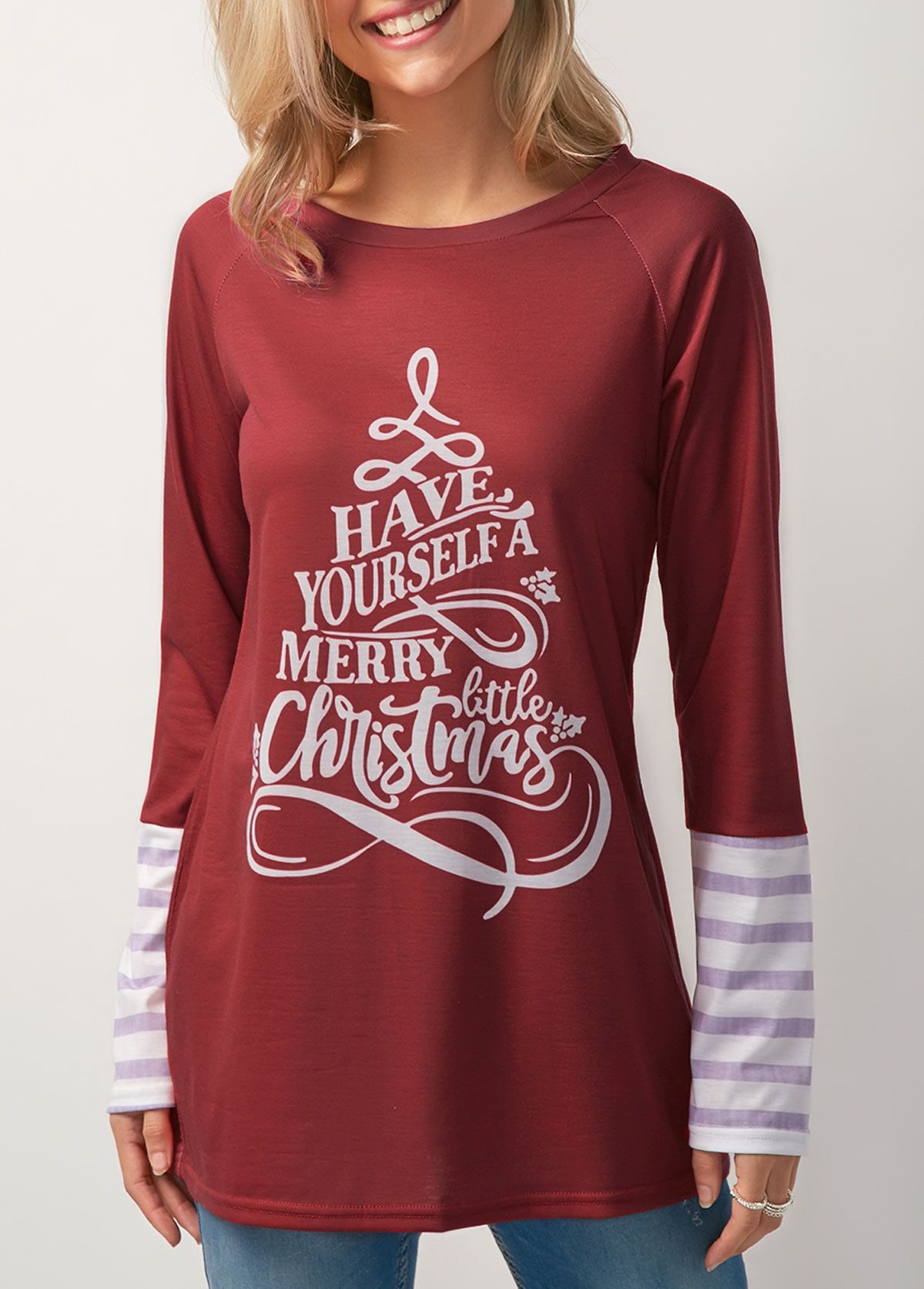 Wine Red Long Sleeve Christmas Printed T Shirt On Sale Only Us 30 16 Now Buy Cheap Wine Red Long Sle Trendy Tops For Women Red Sweatshirts Trendy Fashion Tops