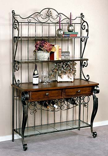 Country Bakers Rack With Images Wrought Iron Decor Iron Decor