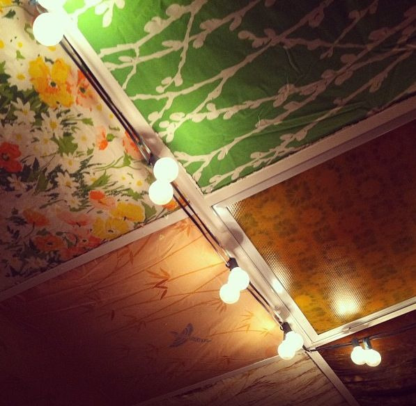 Drop Ceiling Panel Disguised By Vintage Fabric At The Owls
