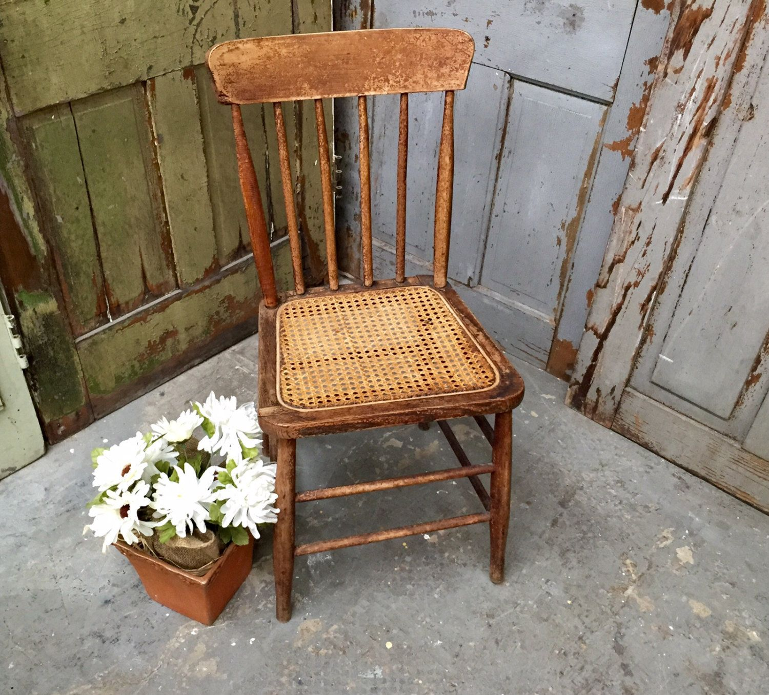 Rustic Chair Cane Seat Chair Vintage Wooden Chair Brown Accent