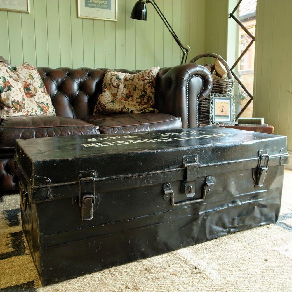 Vintage military trunk industrial wwii footlocker metal chest vintage industrial trunk coffee table storage box military wwii naval footlocker geotapseo Gallery