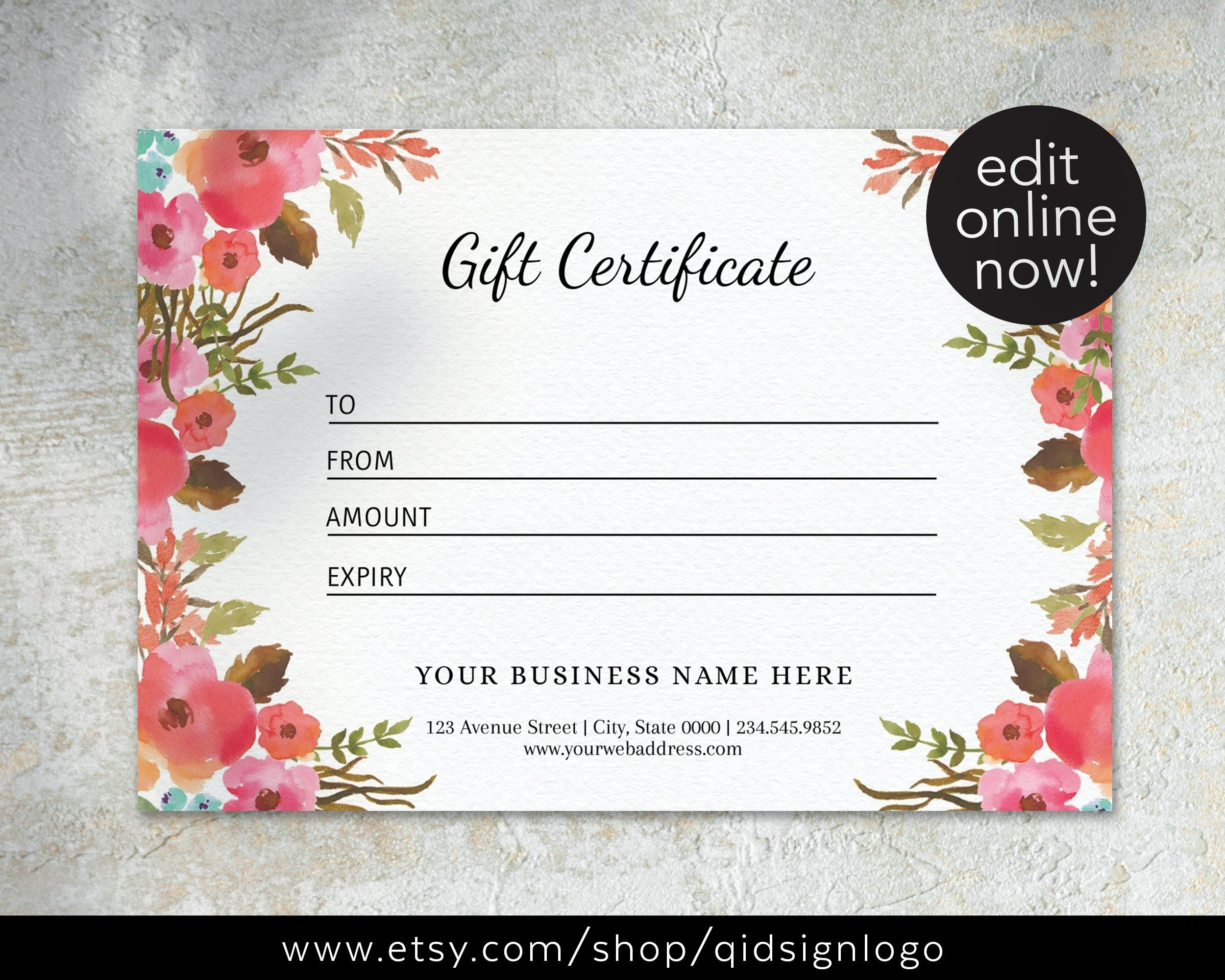 Premade Gift Card Template Editable Gift Certificate Diy Voucher Certificate Business Template Shop Voucher Floral Design In 2021 Gift Card Template Card Template Gift Voucher Design