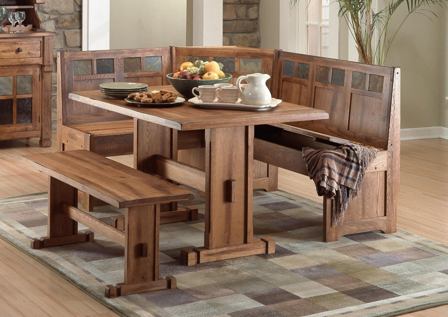 Dining room table with corner bench seat - Wood Kitchen Table With Bench Seating Designs Ideas