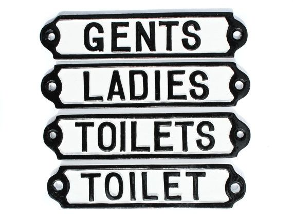 WOMENS & TOILETS DOOR SIGNS LOO ANTIQUE CAST IRON STYLE MENS LADIES GENTS