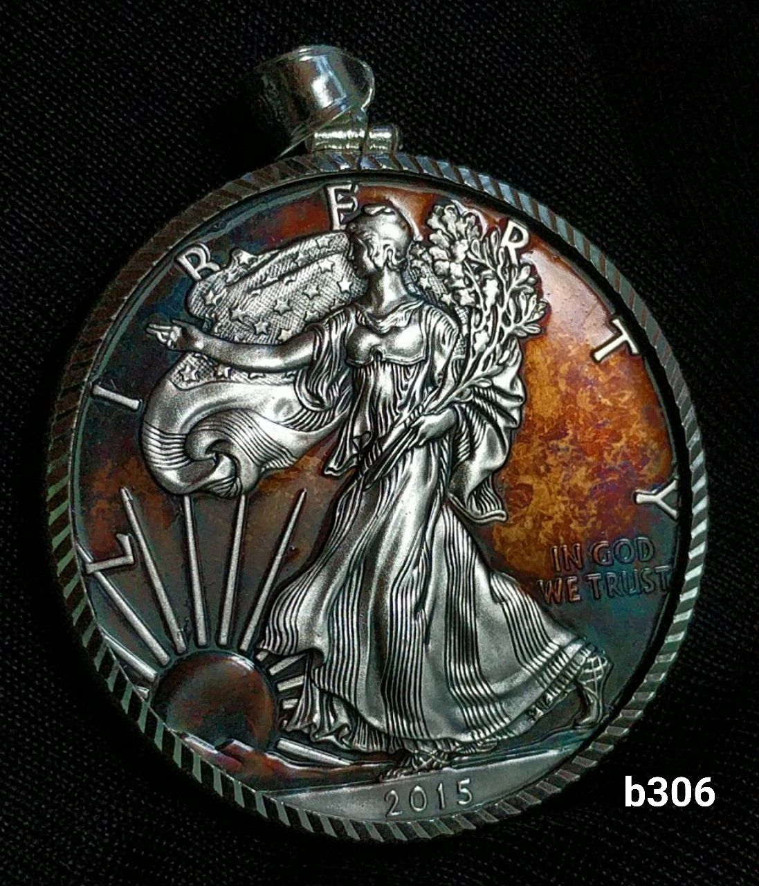 2015 Rainbow Toned American Silver Eagle Coin 1oz 999 Fine On Sterling Silver Bezel For Necklace Silver Eagles Silver Coins American Silver Eagle