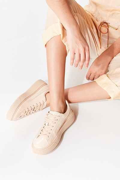 puma leather platform beige