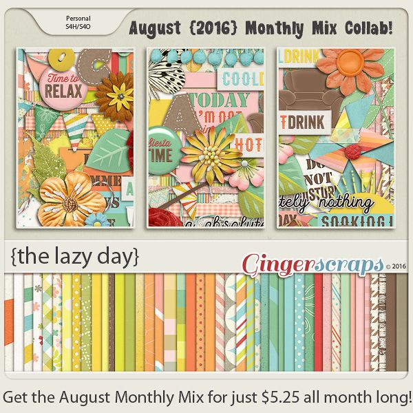 August 2016 Monthly Mix at the Ginger Scraps Store! Father's Day. Summer. Brothers. Sons. Fathers. All the males in your life are meant to be celebrated! On Sale for only $5.25 through August! The Lazy Day; http://store.gingerscraps.net/Monthly-Mix-The-Lazy-Day.html. 06/09/2016