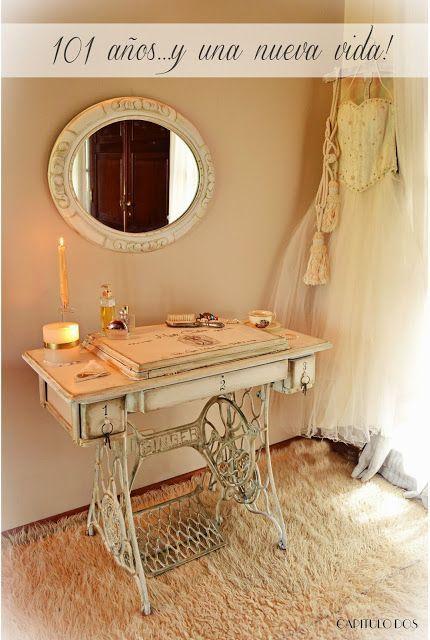 antiquisimo mueble de maquina de coser convertido en tocador