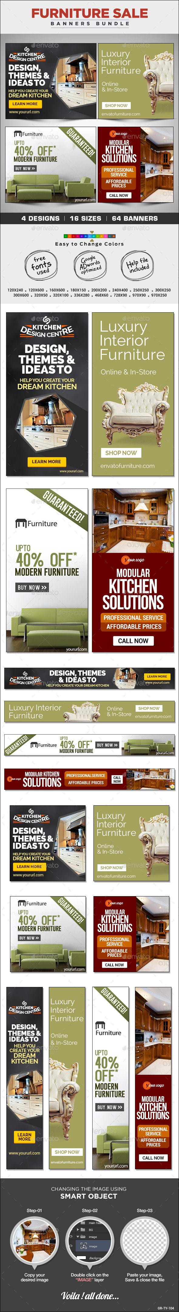 Furniture Store Banners Bundle - 4 Sets | Banners