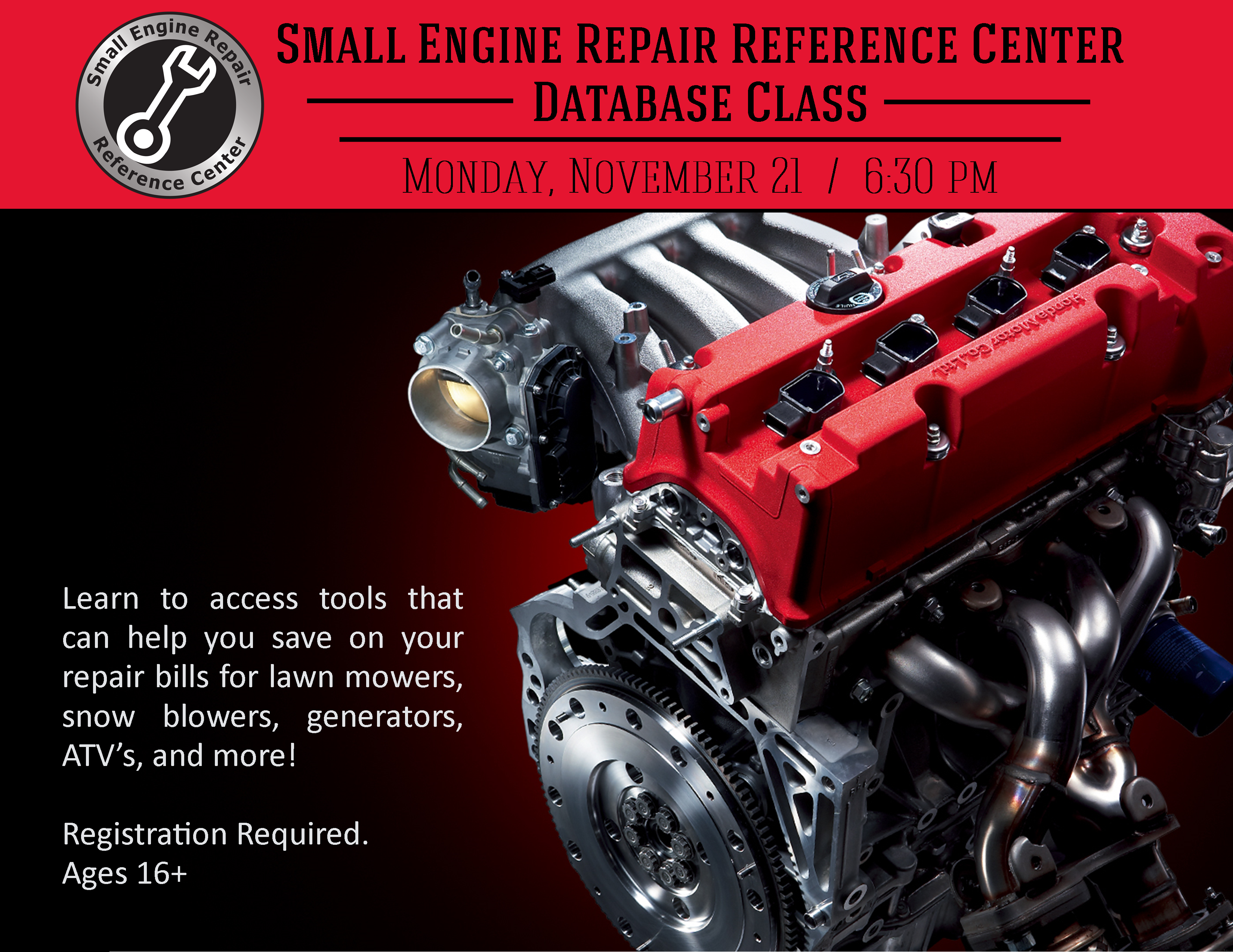 Small Engine Repair Reference Center Class Monday