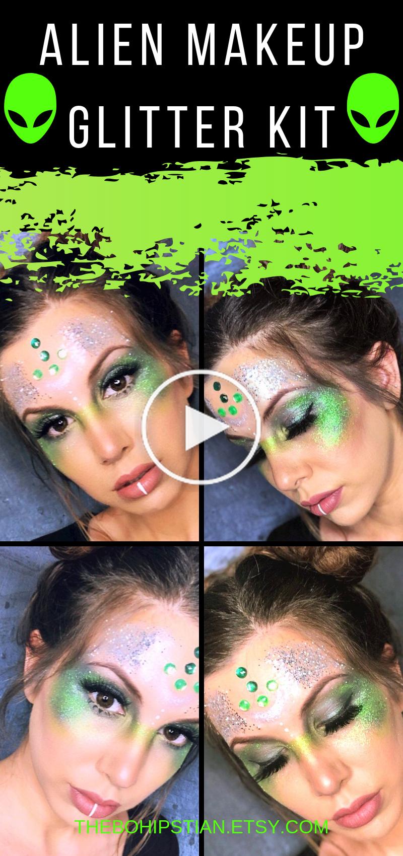 Alien Costume Women Glitter Makeup Alien Makeup Cosmetic Glitter Set Loose Glitter Area 51 Face