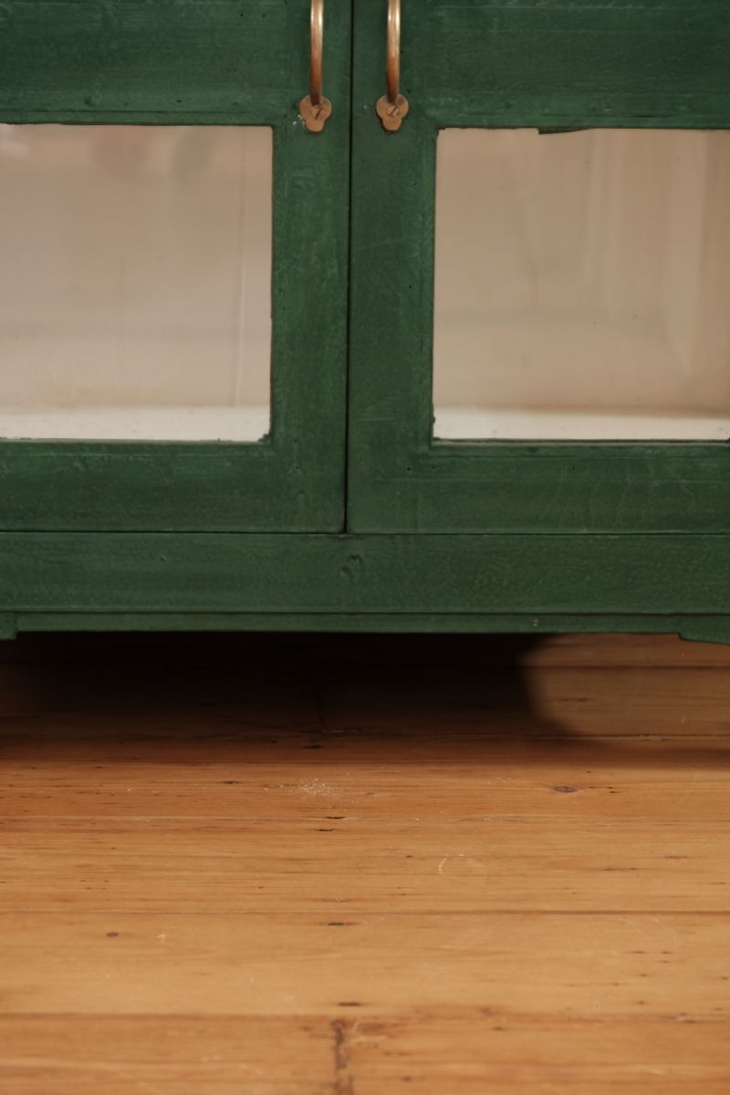 Photo of Painted Hardwood Cabinet In Green With Glazed Doors and Side Panels