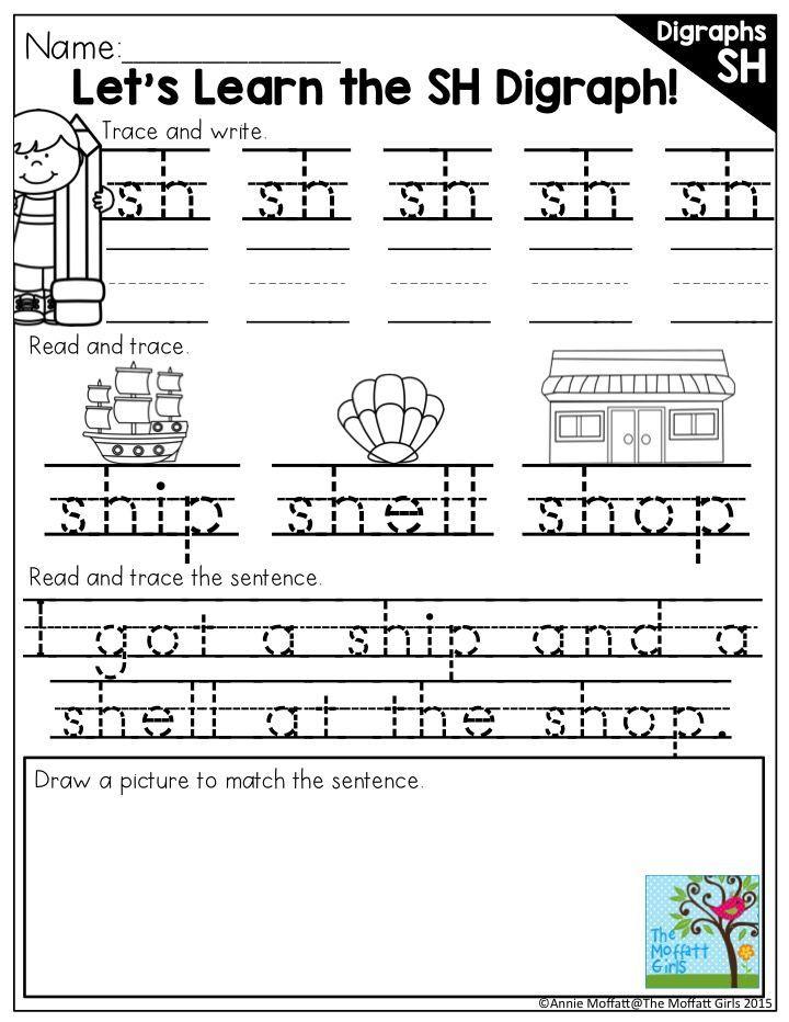 Digraphs (SH Words) NO PREP Packet | Sentences and Kindergarten