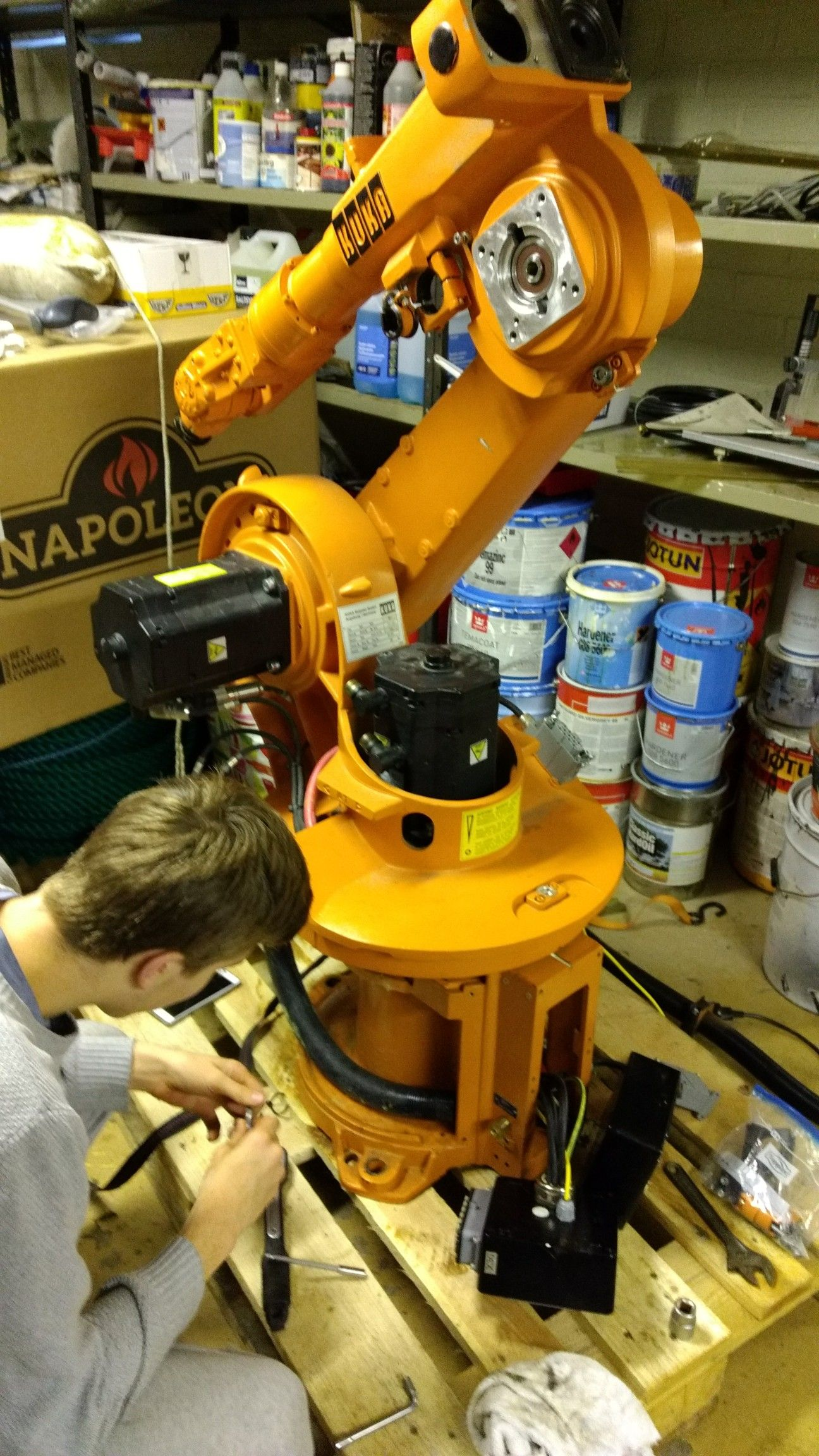 Demonting Servos From Industrial Robot A Kuka Robot Industrial Robotic Arm Robot Structure Robot Design