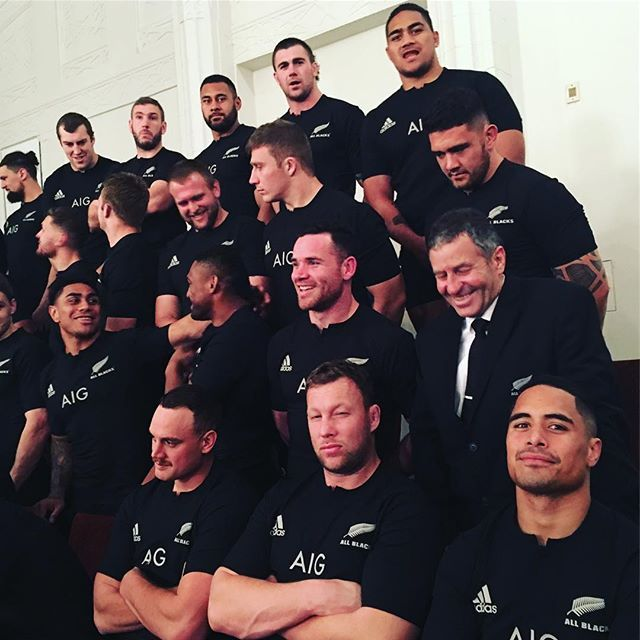 STRIKE A POSE: @wyattcrockett_1 and @aaron_smith09 give their best pose while waiting for the official All Blacks team photo in Auckland tonight. #bluesteel #InvestecRugbyChampionship