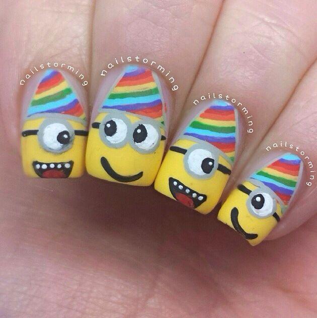 Minion birthday nails
