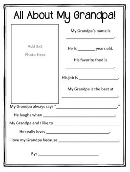 photo regarding All About Grandpa Printable called All Around My Grandpa! Printable My TeachersPayTeachers