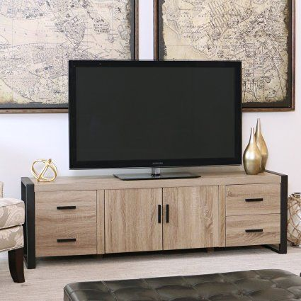 We Furniture 70 Quot Industrial Wood Tv Stand Console Driftwood Muebles Para Tv Muebles Para Tv Modernos Muebles Living
