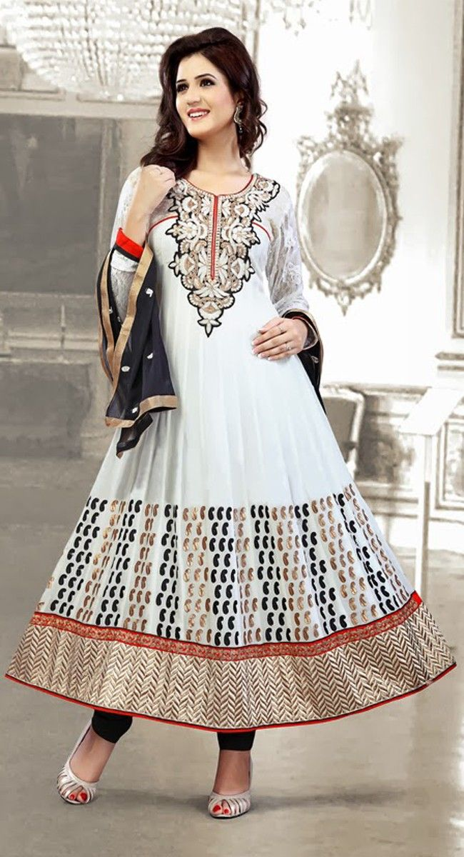 Attractive White Salwar Kameez