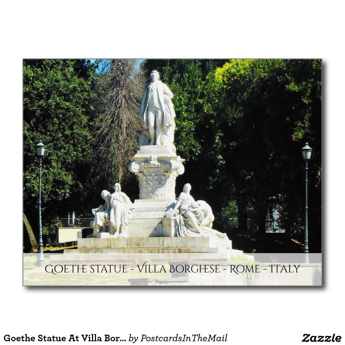 Goethe Statue At Villa Borghese In Rome, Italy Postcard