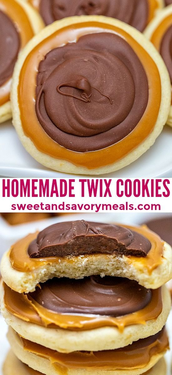 Easy Twix Cookies - Sweet and Savory Meals #twixcookies
