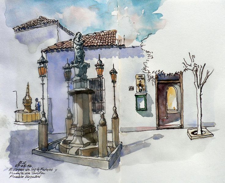 Enjoy These Cityscapes In The Form Of Urban Sketches 40 Beautiful Locations Sketch Painting Sketches Watercolor Sketch