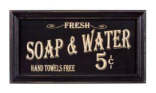 Vintage Badkamer Spiegel : Vintage look bath advertising framed sign kitchen saying
