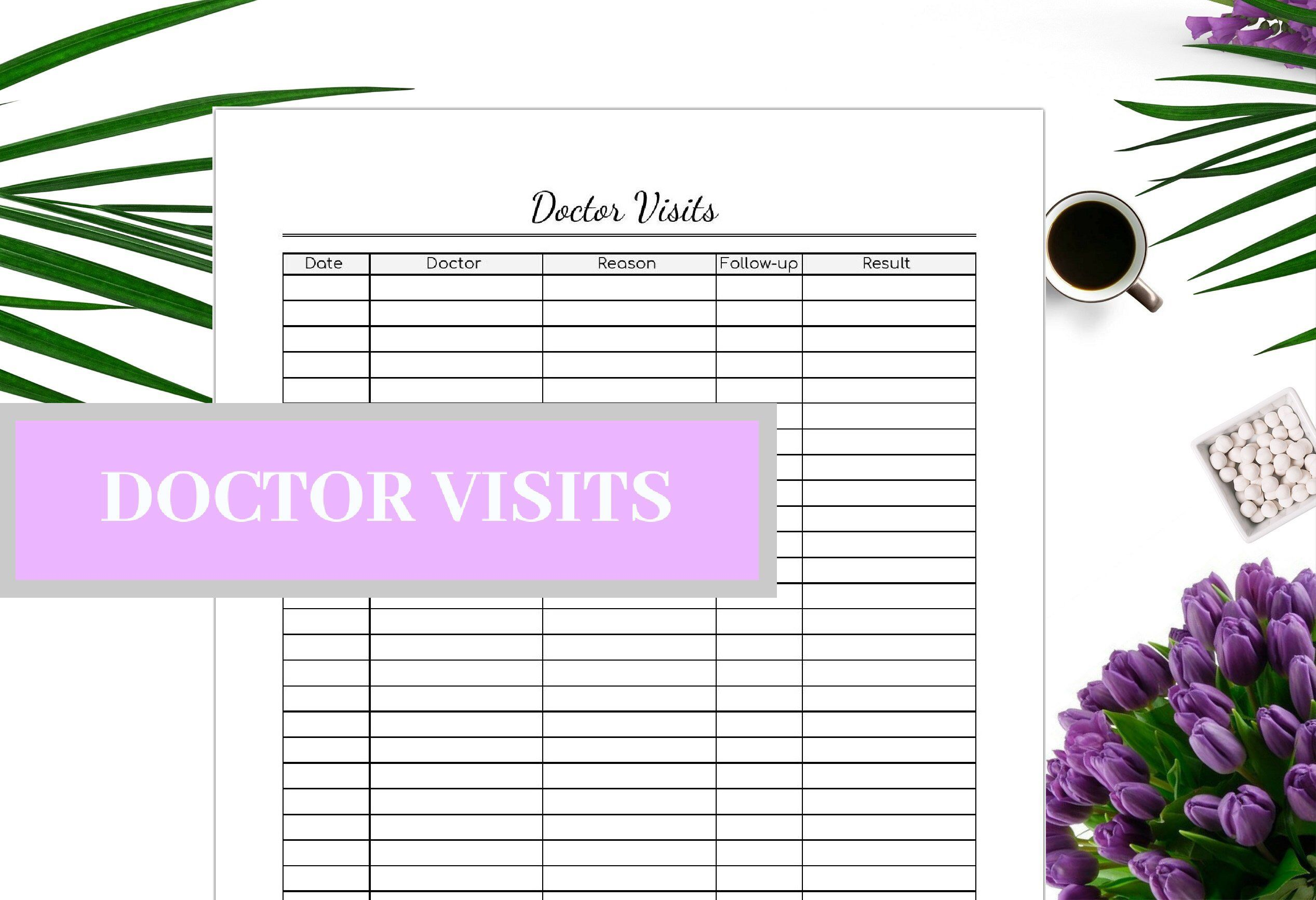 Doctor Visit Printable Editable Doctor Record Instant