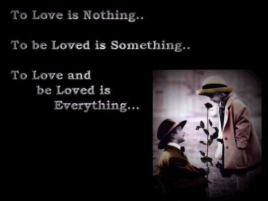 To love is nothing, but to love and be loved is everything.
