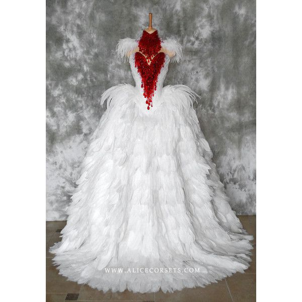 Haute Gothic Wedding Gown Feathers Overbust Corset Bloody Swan Dress ...