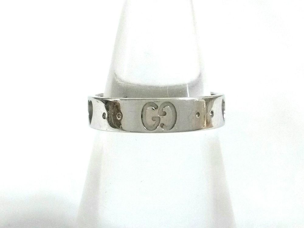 52d5ce9b9 Auth GUCCI Icon Ring 18K White Gold Ring #9 (#US 5) | Fine Jewelry ...