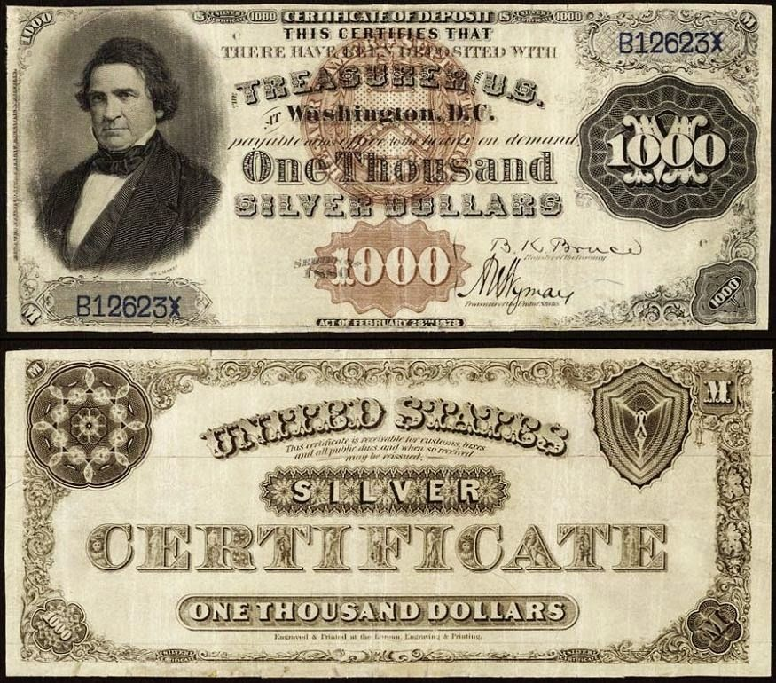 1880 1000 Silver Certificate World Banknotes Coins Old Money Currency Notes World Paper Money Bank Notes Money Notes Paper Currency