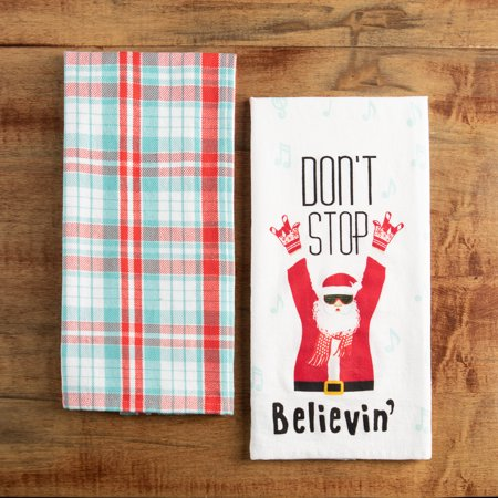 Holiday Time Kitchen Towels 2 Pack Don T Stop Believin Red