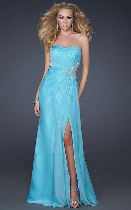 Blue Strapless Prom Dress - Ocodea.com