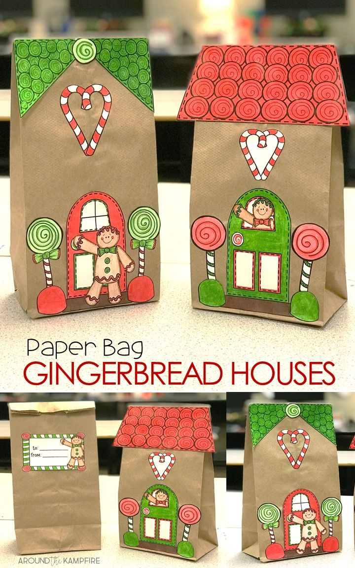 Gingerbread House Craft and Gift Bag - Gingerbread house craft, Paper bag crafts, Christmas gifts for parents, Crafts for kids, Craft paper wrapping, Christmas crafts - This adorable Gingerbread House craft, made with simple lunch sacks, is the perfect addition to your gingerbread man activities, Holidays Around the World, winter crafts, and Christmas activities  Use it to make a gingerbread village, tie in some writing, or even as a gift bag for parents with the included gift tags   Two different template styles give younger students an easy cut version with fewer pieces and less cutting detail, while older students can use the fancier version to design their own gingerbread houses